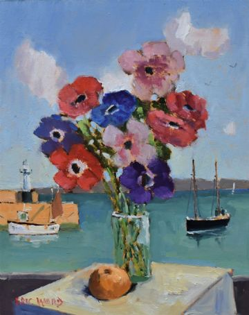 Eric Ward Original Oil Painting Anemones Flowers Still Life St Ives Cornwall